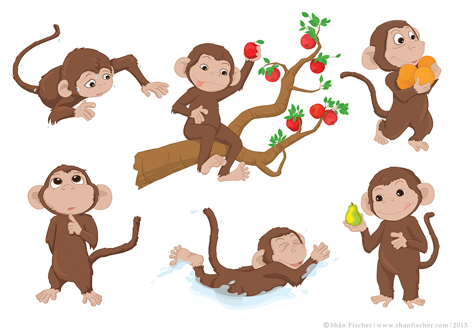 Monkey Character Poses.