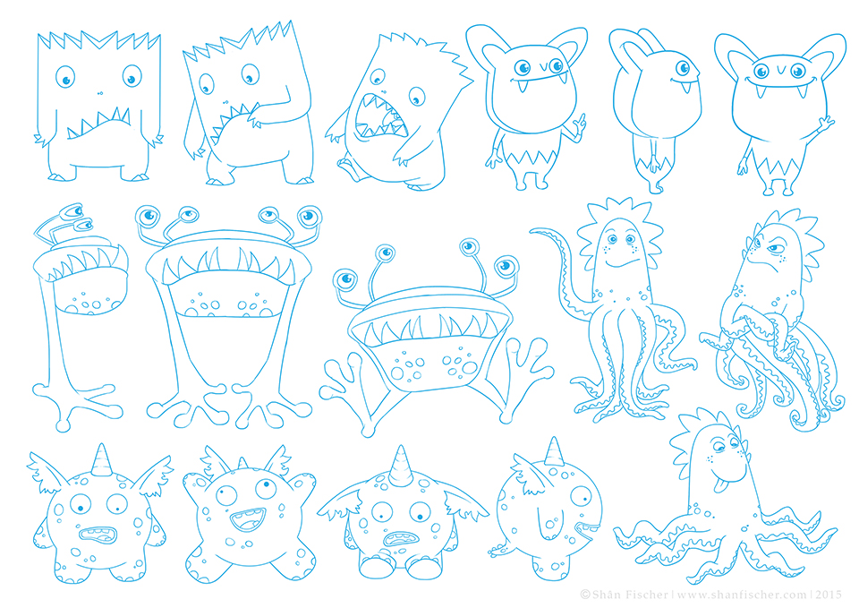 Monster Characters based on the formation of the letters of the alphabet.