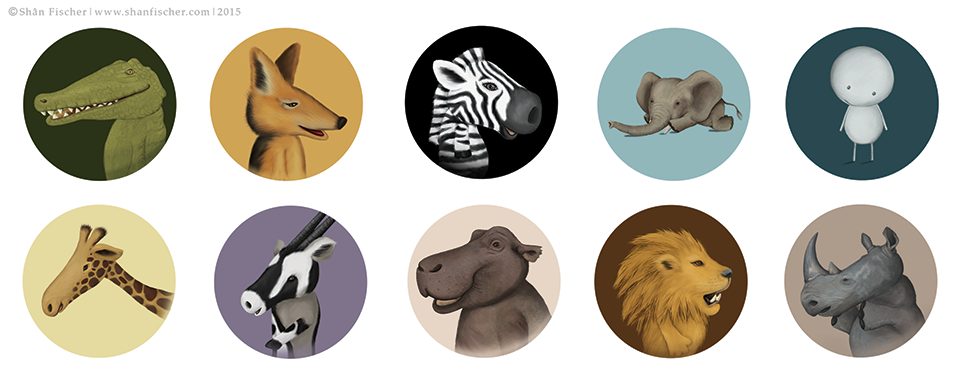 William's Animals created for button badges.